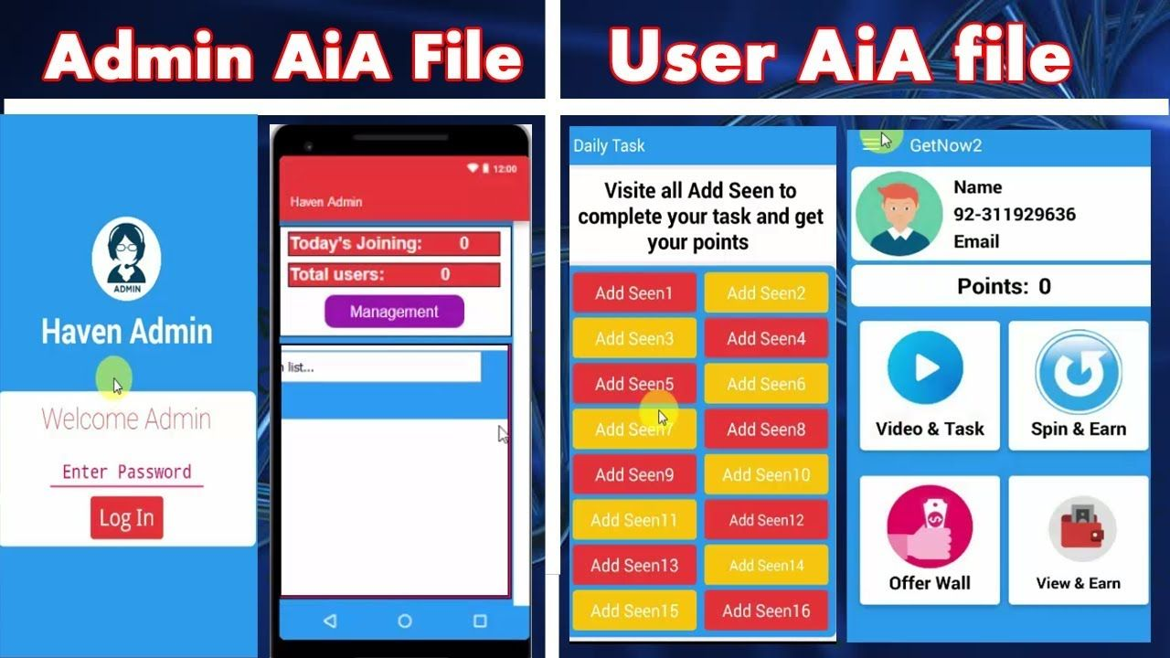 get now earning aia file free download with user and admin