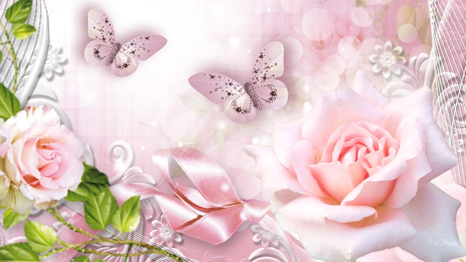 Sparkling Butterflies Roses Pink Wallpaper With Images Pink