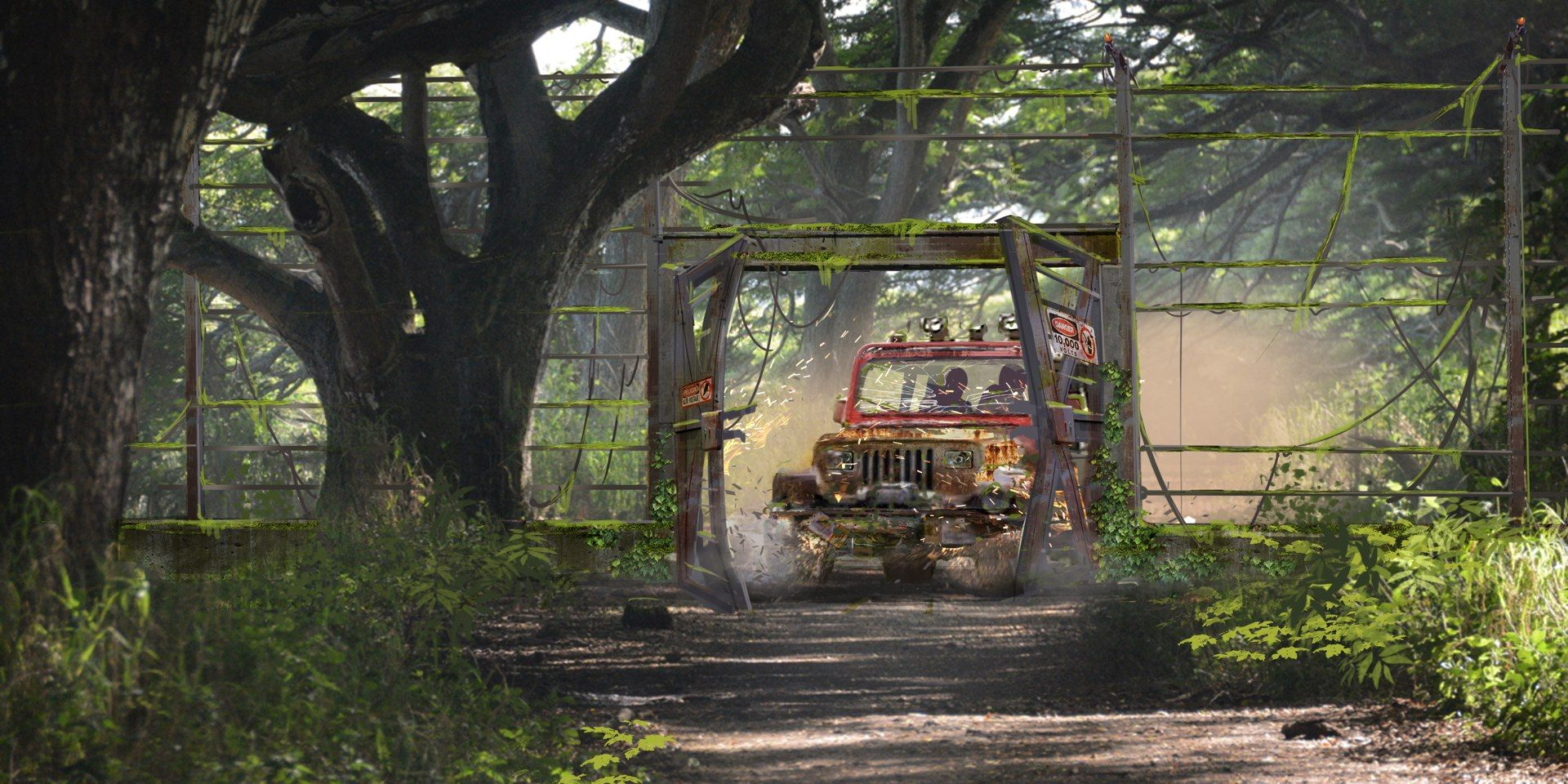 Jurassic park card 3 by chicagocubsfan24 on deviantart - Concept Art Of The Hot Wired Jurassic Park Jeep Returning To The Jurassic World Enclosure From Jurassic World
