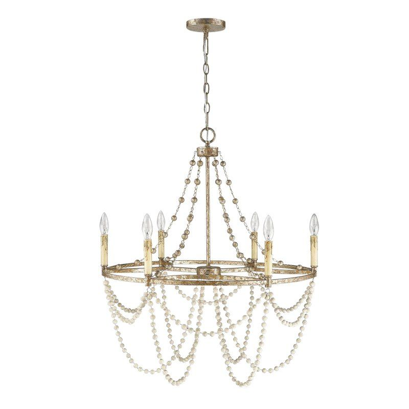 Isabelle 6 Light Chandelier Distressed Silver Leaf And Driftwood White Silver Light Fixture Chandelier Lighting Silver Leaf