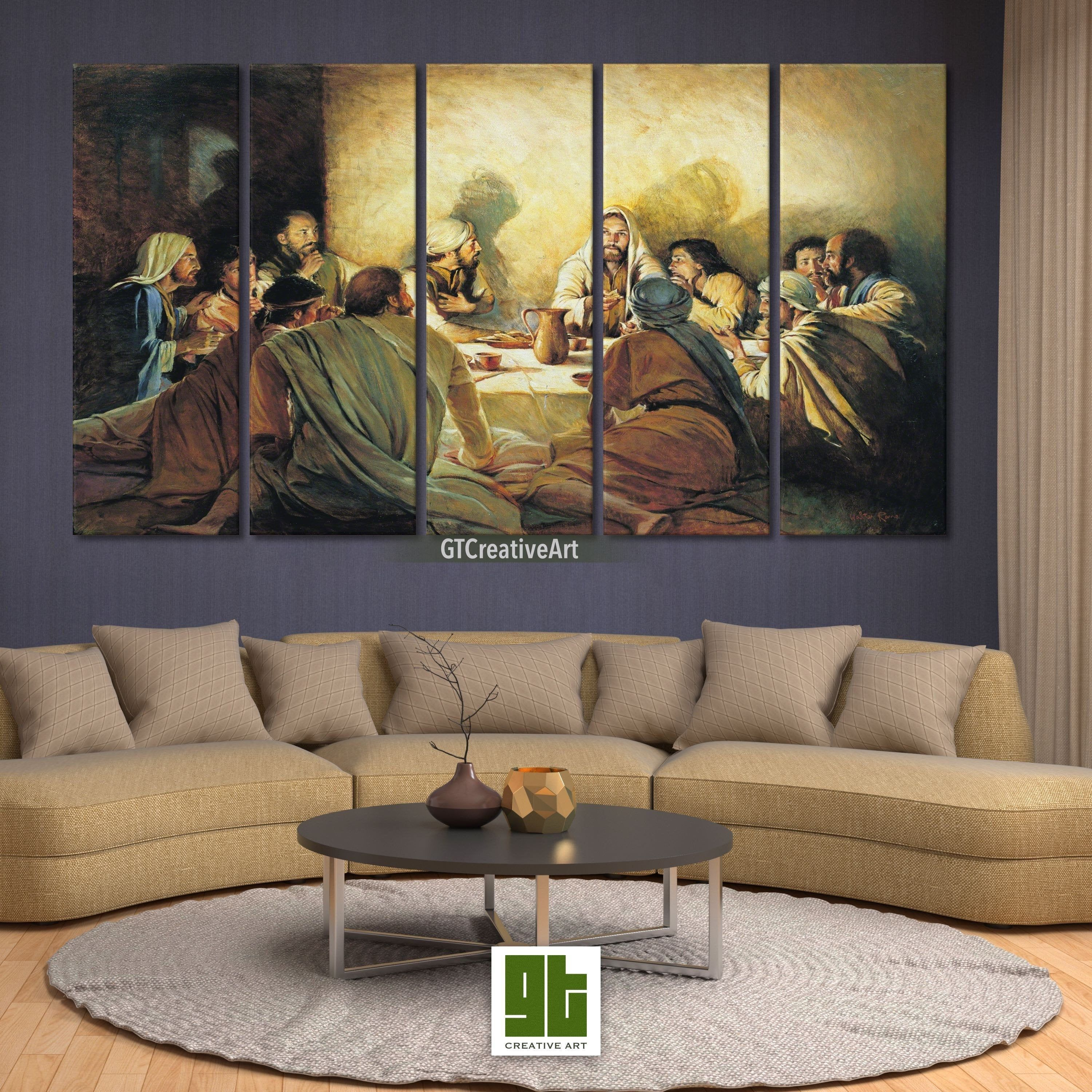 Jesus Disciples Artwork Multi Panel Framed Canvas Last Supper Wall Art Canvas Jesu Artwork For Living Room Canvas Painting Projects Native American Wall Art
