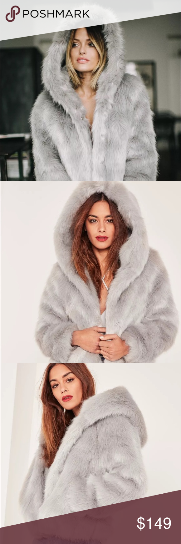aa08f43ee7 Missguided x Caroline Receveur faux fur grey coat MISSGUIDED X CAROLINE  RECEVEUR - GREY HOODED FAUX FUR COAT US SIZE 0 NEW WITH TAGS.
