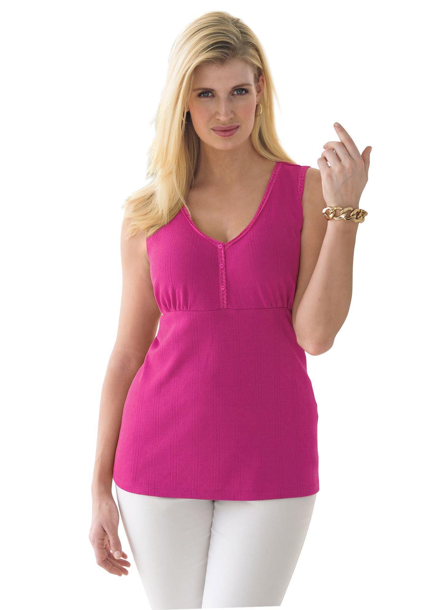 Discount On Jessica London® Lace Trim Tank Top Lace trim
