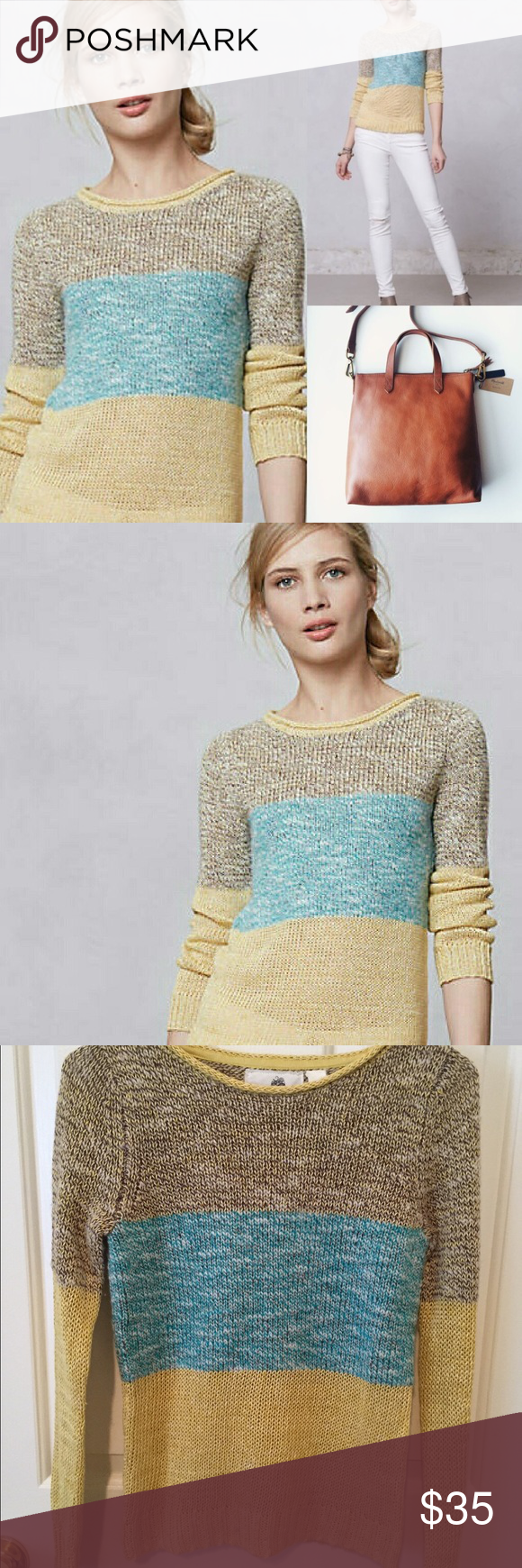 Colorful Anthropologie Sunk daffodil pullover Multi color Colorblock pullover from Anthropologie by Giuliana Elena. Gently loved. Perfect for spring!! Size xs. 🙆🏻no trades or off site transactions. 🙅🏻Low ball offers will be denied. 💁🏻I believe my prices are already low enough and are very fair. I do have an illness 😷 & 2 little ones 👶🏻 so if I don't respond I'm either very ill that day 🚑 or have been kidnapped by my children🙍🏻Thank you for shopping my closet💋 Anthropologie…