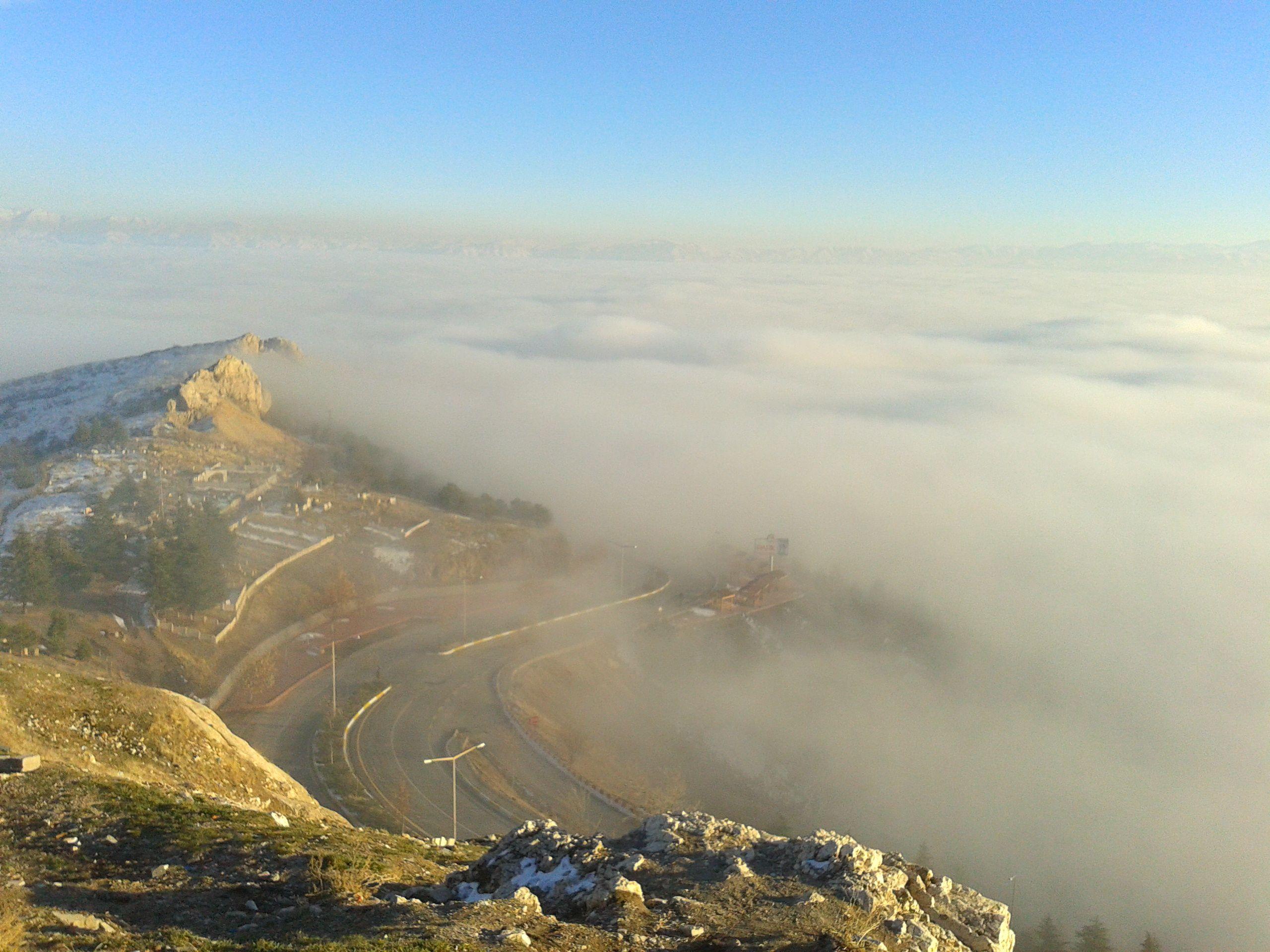 Elazig in the mist - from Harput, Elazig, Turkey.