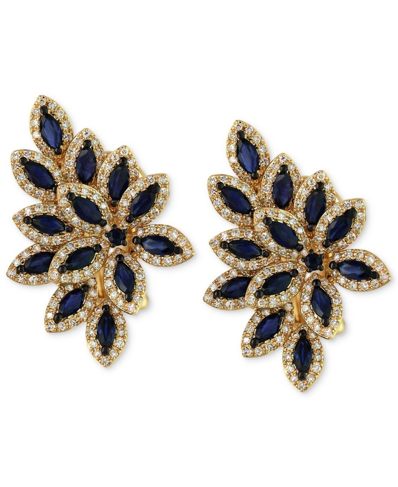 4e1a839f8 Velvet Bleu by EFFY Sapphire (2-1/2 ct. t.w.) and Diamond (1 ct. t.w.)  Earrings in 14k Gold - Earrings - Jewelry & Watches - Macy's