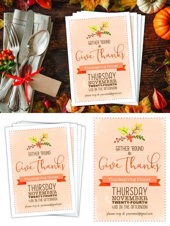 Thanksgiving Dinner Invite Invitation Templates Pinterest Fonts - dinner invite templates