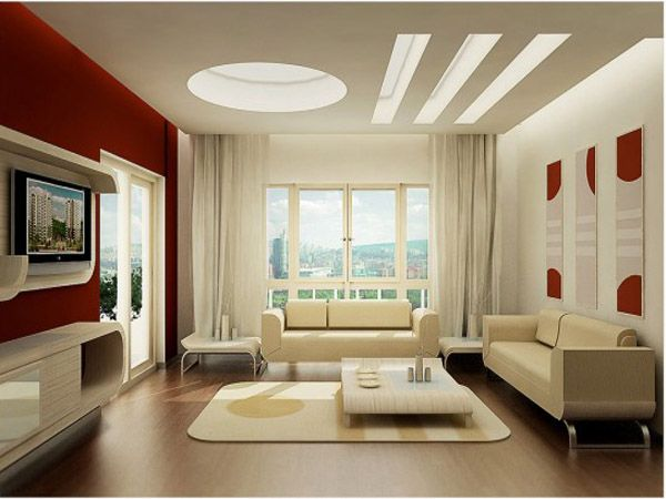 False ceiling designs ideas for modern living room with red wall ...