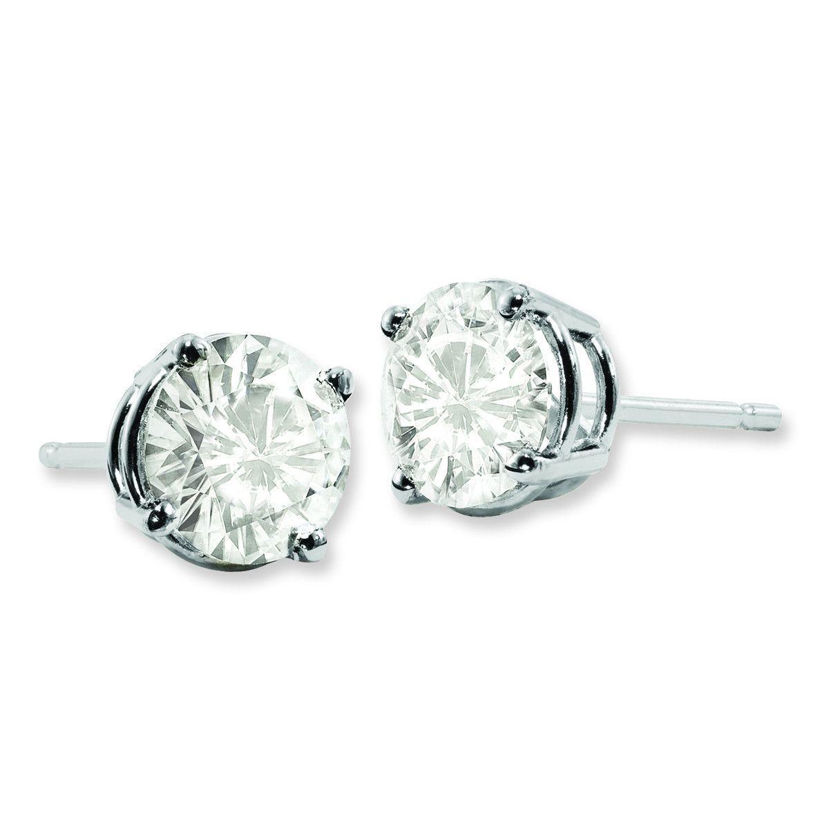 14K White Gold Moissanite 9mm Round Screwback Earrings