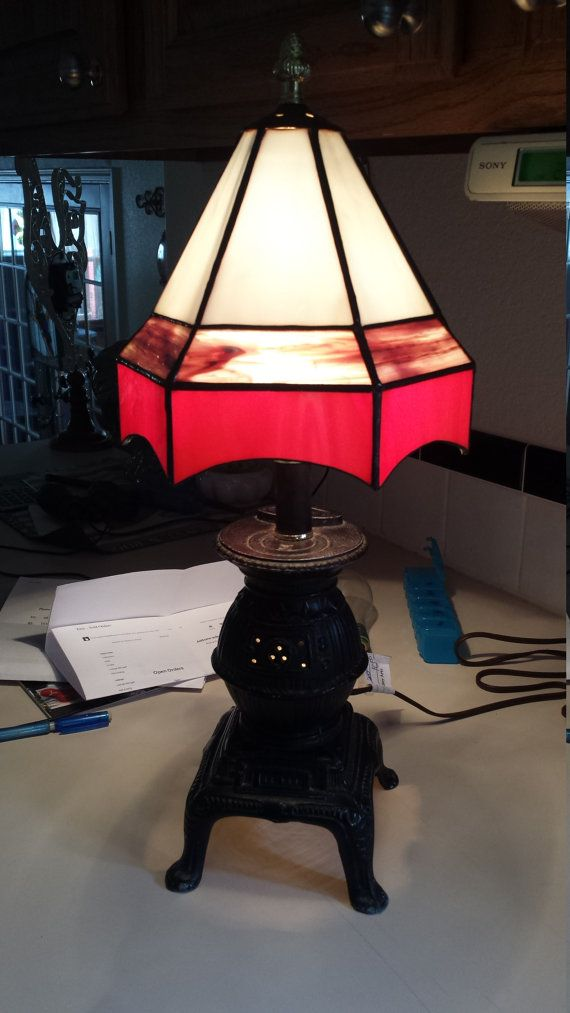 Pot Belly Stove Table Lamp With Stained Glass By CustomGlassWorx