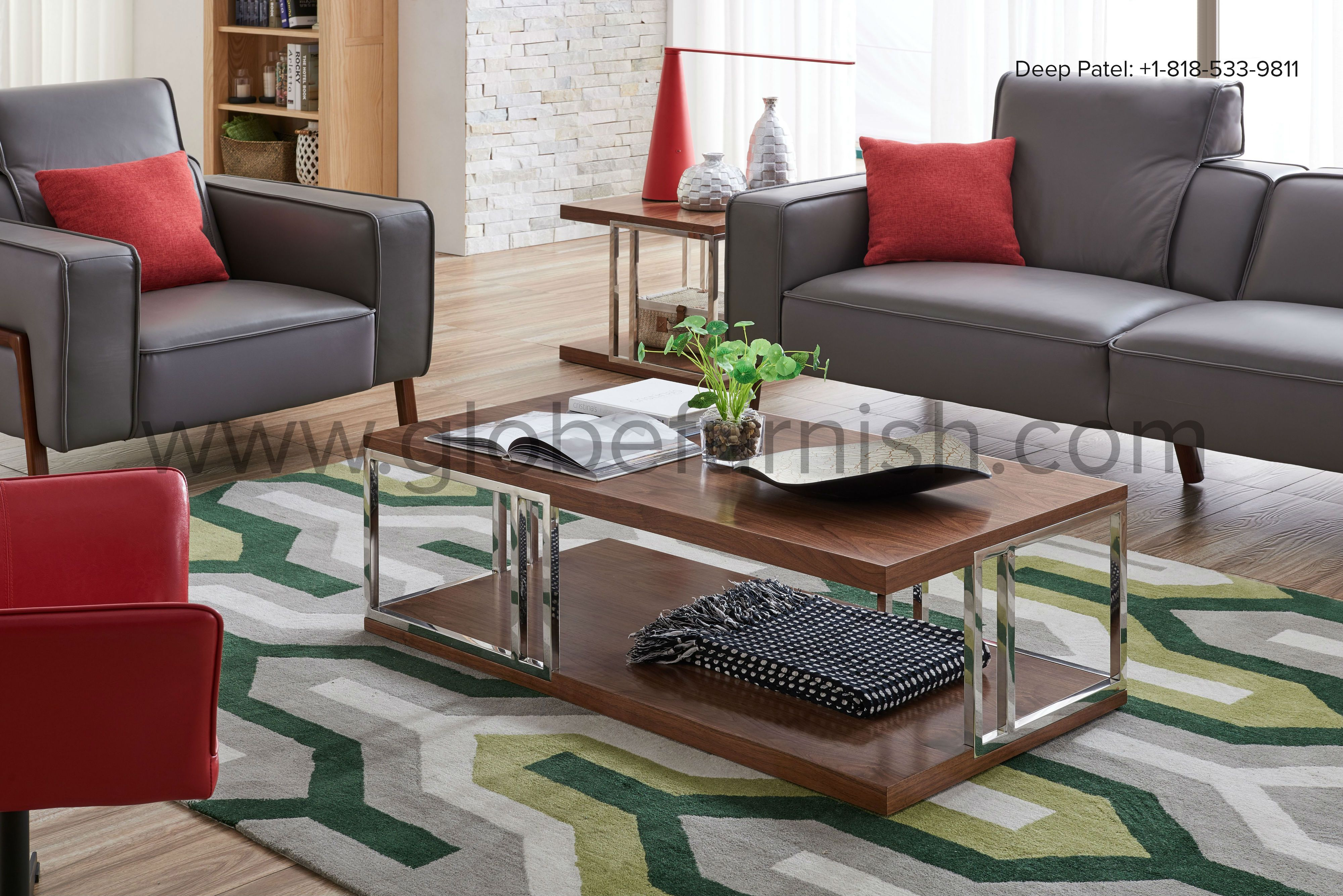 For A Contrasting Effect Own These Dark Grey Leather Sofas With Red Pillows Accompanied By Wood And Metal Center Table With Multicolor Floor Mat Furniture C