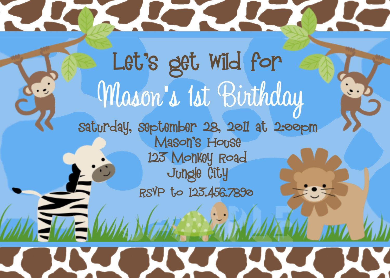 Jungle Animals Birthday Invitation Safari Animals Birthday Party ...