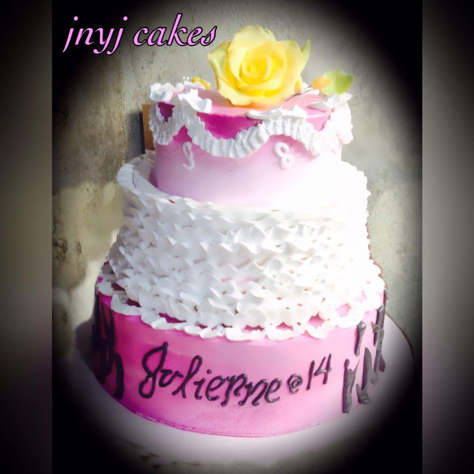 Ruffled Cake In Boiled Icing Cake Ruffle Cake Birthday Cake