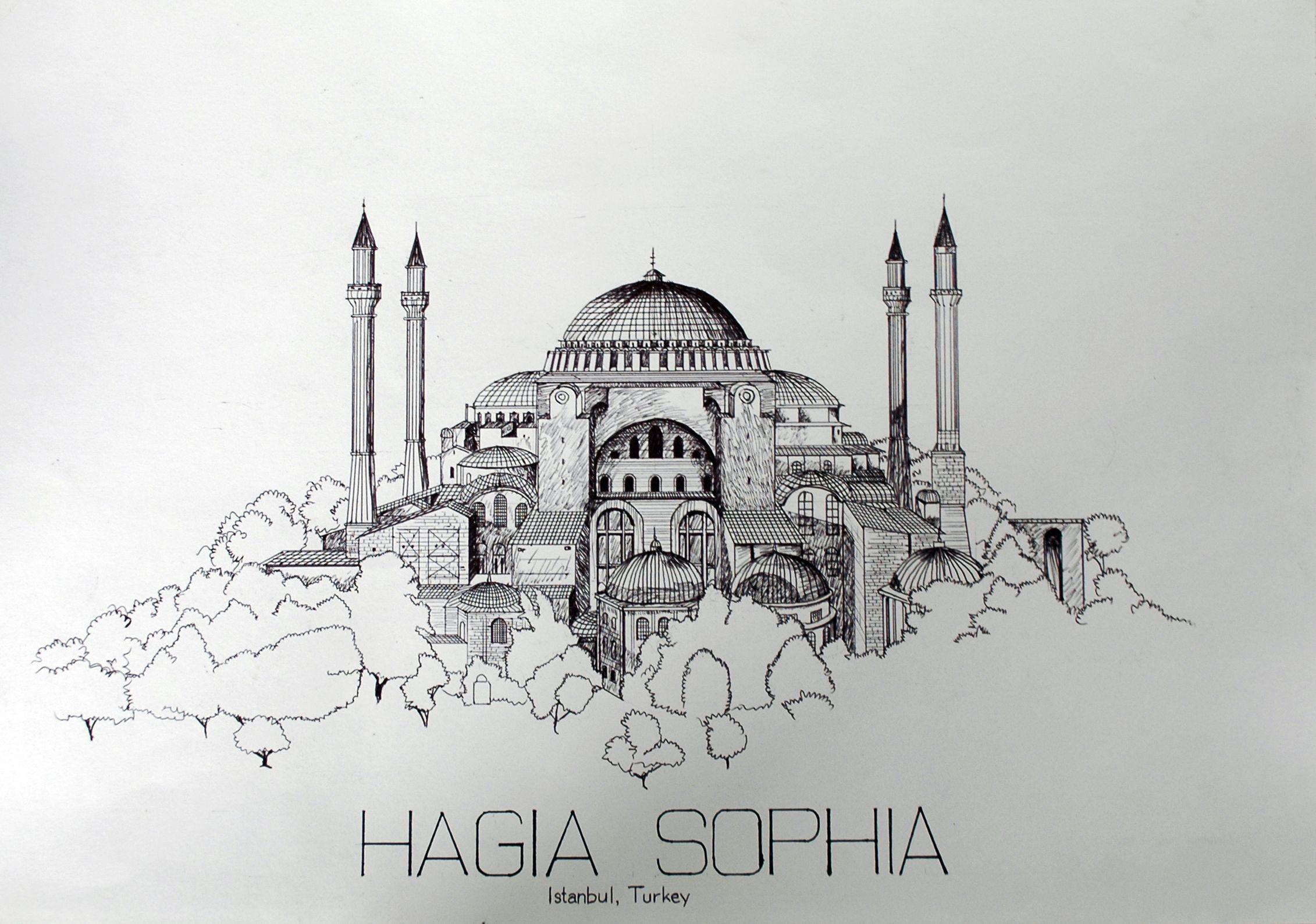 Archcom Hagia Sophia Of Istanbul Turkey Architecture Architecturesketch Hagiasophia Ayasofya Istanbul Turkey Mimari Cizim Taslaklari Sanat Resimler