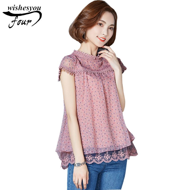 6c0e350c30672e 2017 summer new fashion short-sleeved floral lace chiffon women blouse  stitching casual loose women