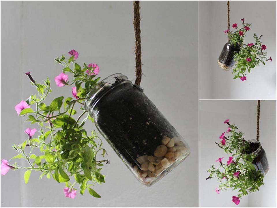 Hanging Mason Jar Planter With Drainage