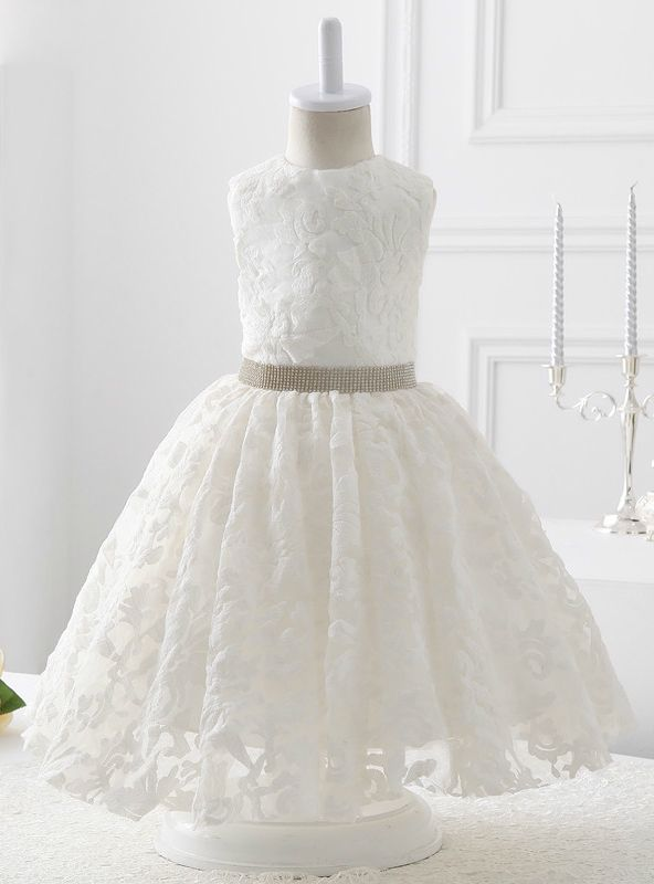201696eb961 2017 Style White Lace With Beading Flower Girl Dress