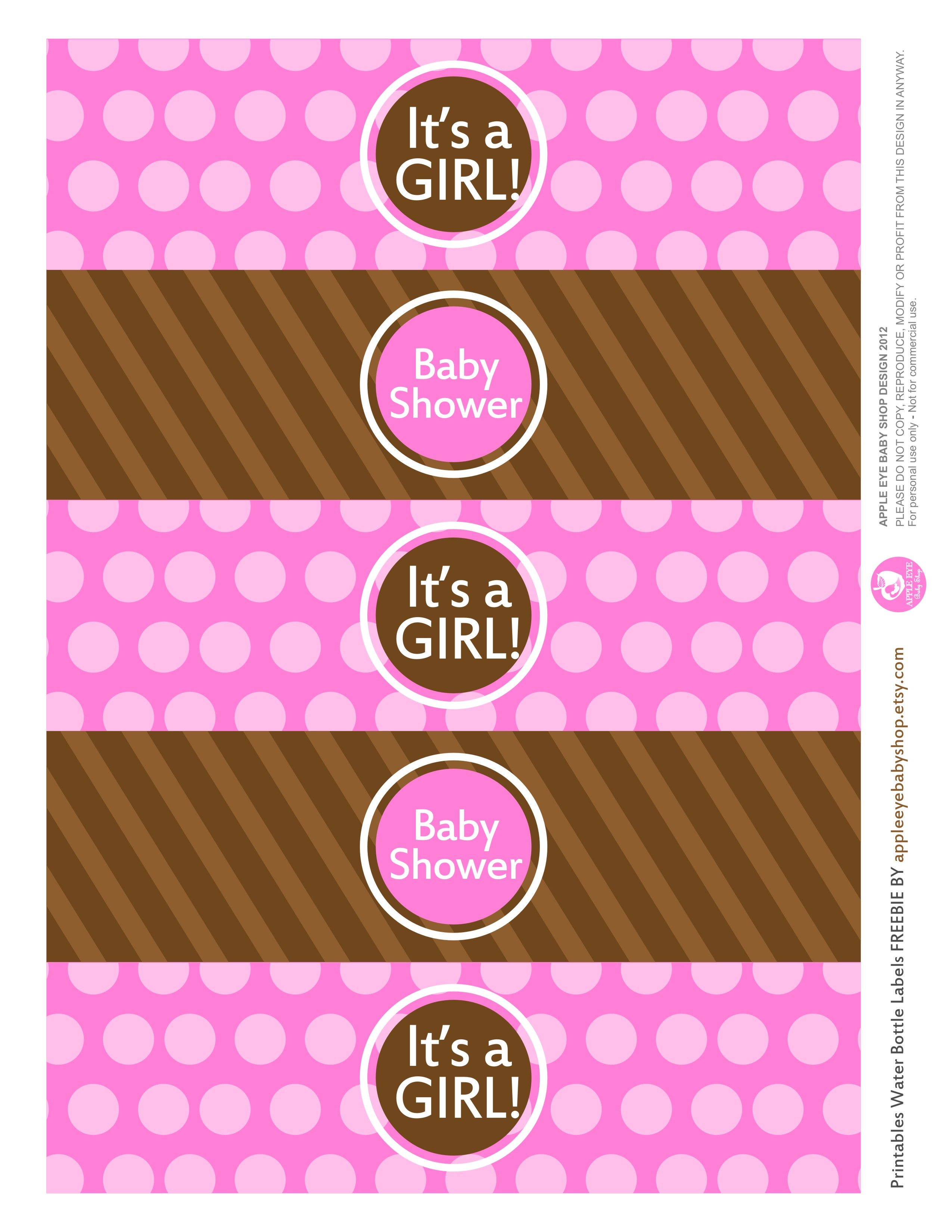 free printable baby girl water bottle labels printable freebies rh pinterest com