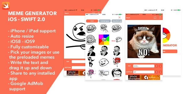 download free meme generator ios swift app app flat generator
