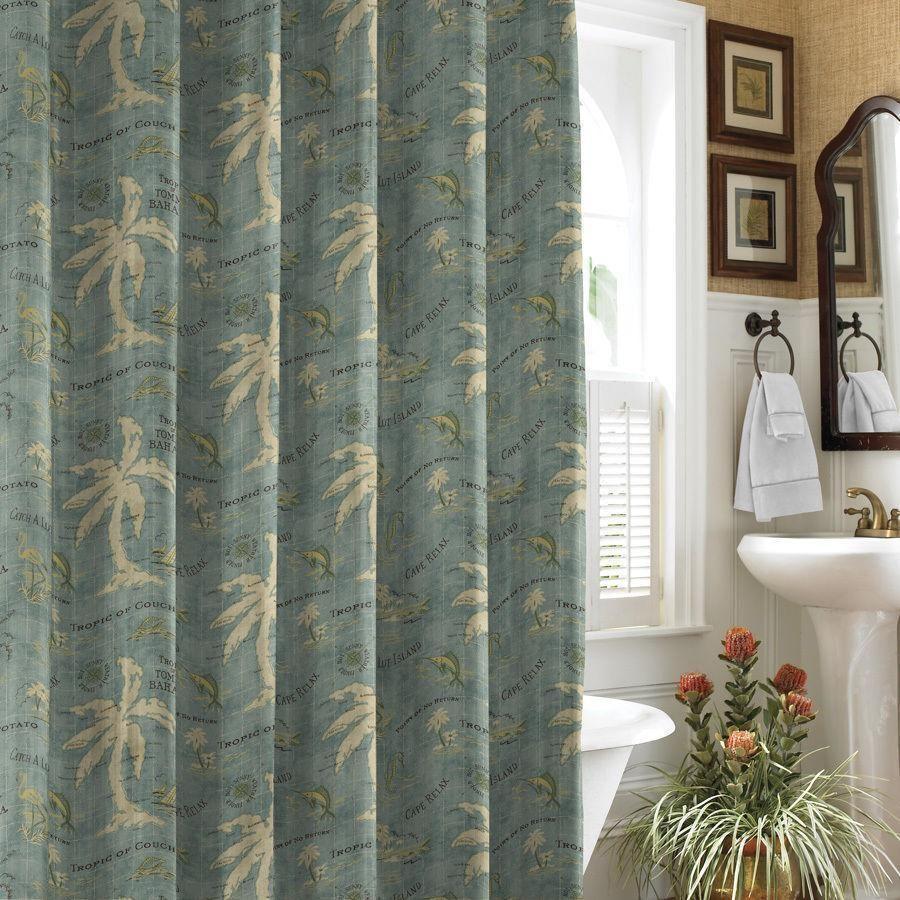 Tommy Bahama Island Song Blue Map Fabric Shower Curtain EUC TommyBahama Tropical