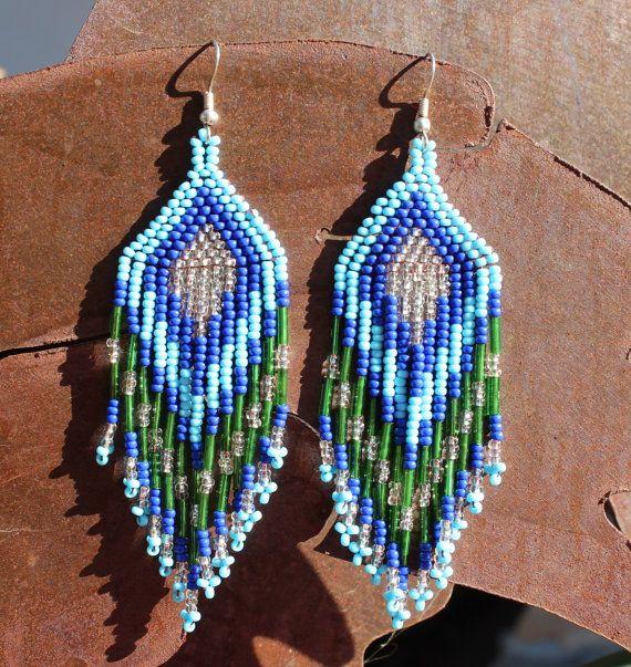 Handmade Glass Beaded Earrings Huichol Jewlery by RanchoAlpino