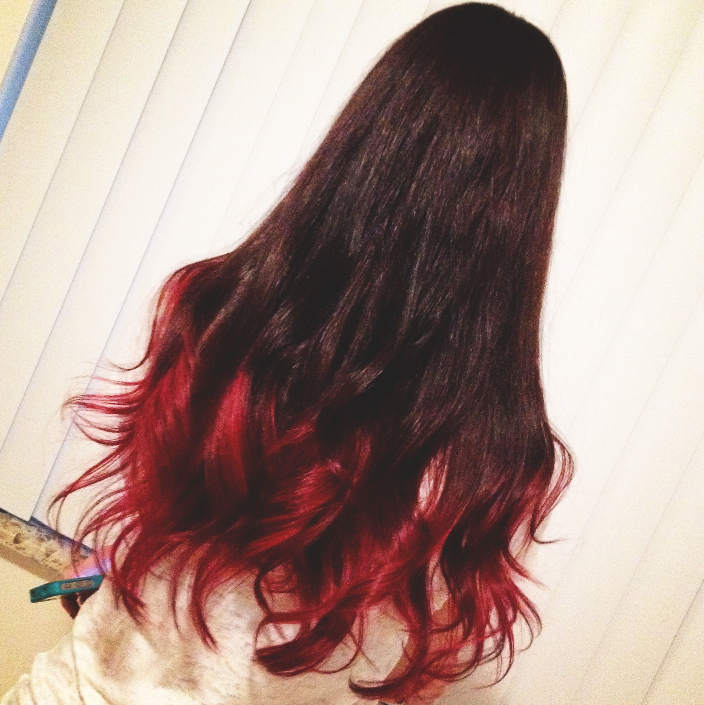 Long curly hair Love the red ends Hair Pinterest