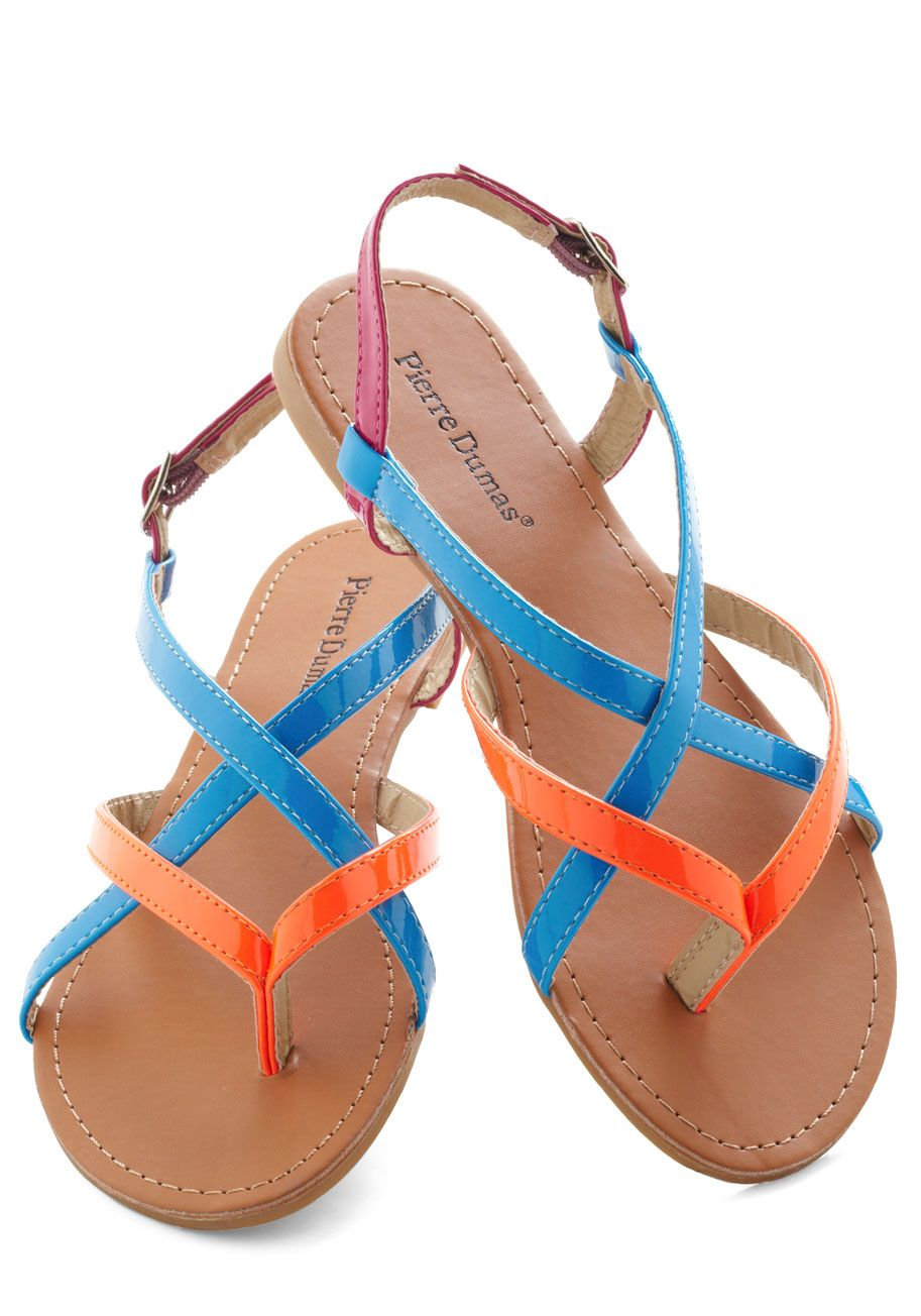 Pin By Nicole On Mod Cloth Vintage Sandals Neon Sandals Shoes