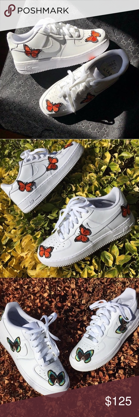 2956a6029 Custom Butterfly Embroidered Nike Air Force 1 Low available in size 7  (women's) 7.5 (women's) 8 (women's) 10 (men's) Nike Shoes Sneakers