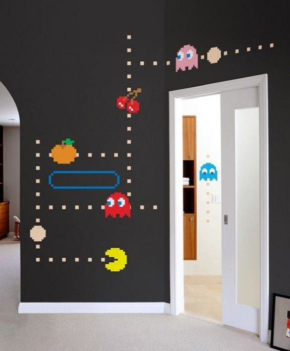 geek alerts pac man wall decals d co gamer pinterest chambres chambre enfant et salles de. Black Bedroom Furniture Sets. Home Design Ideas