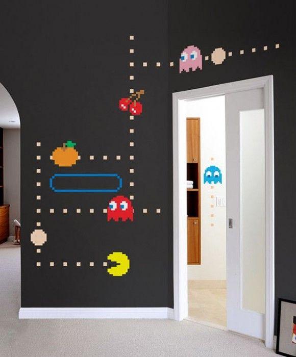 geek alerts pac man wall decals d co gamer pinterest chambres salles de jeux et chambre. Black Bedroom Furniture Sets. Home Design Ideas