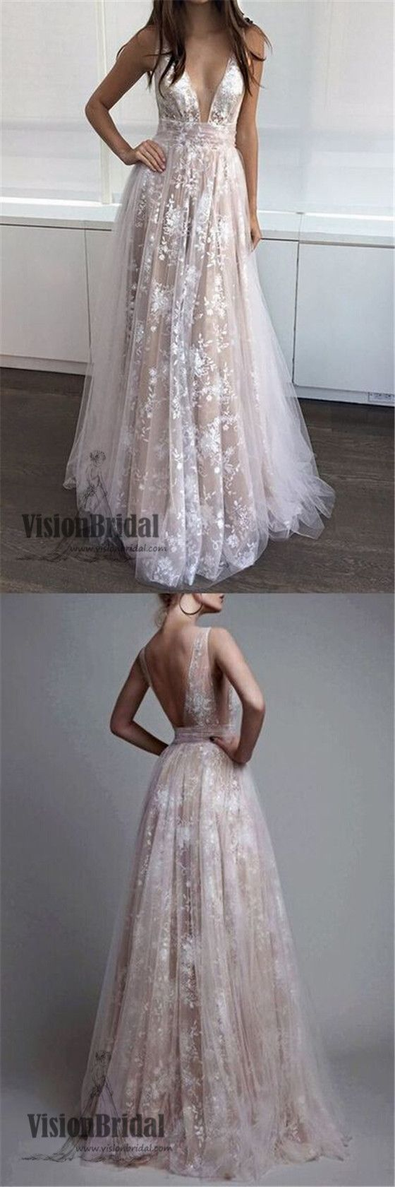 Deep vneck lace embroidery tulle with sequin petticoat long prom
