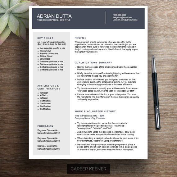 Stand Out With This Modern Combination Resume Template For Word It Includes A Two Page