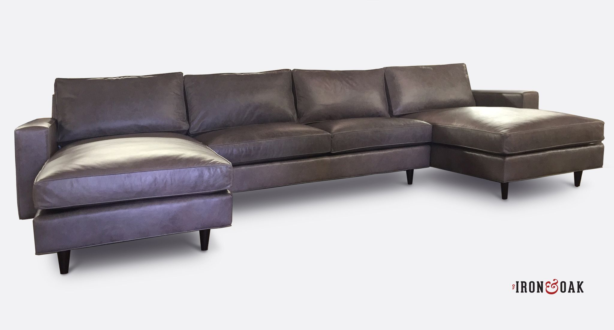 A fantastic of iron and oak grey leather double chaise sectional american made furniture let us help you configure one for your space