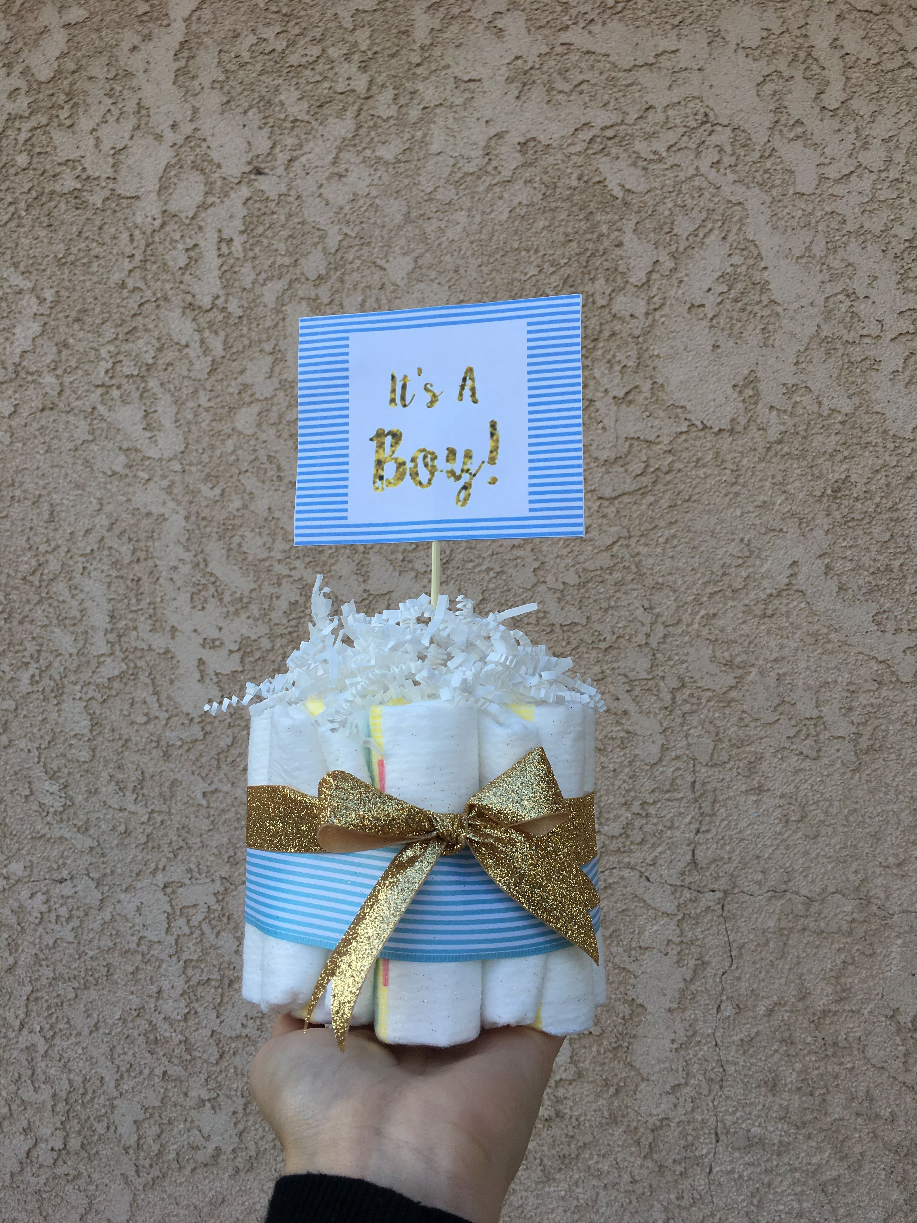 DIY Baby Shower Centerpieces: Diaper Cakes using Pampers Size 1 ...