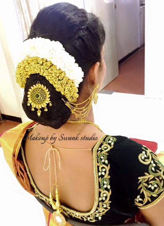 indian wedding hairstyle gallery%0A south indian bridal hairstyle with ear chain