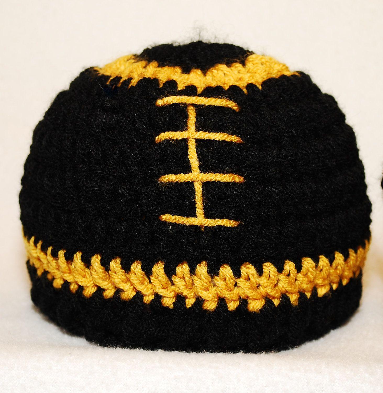 3f8bb3f6332 Crochet Mizzou Football Hat beanie Black and gold Size 0-3