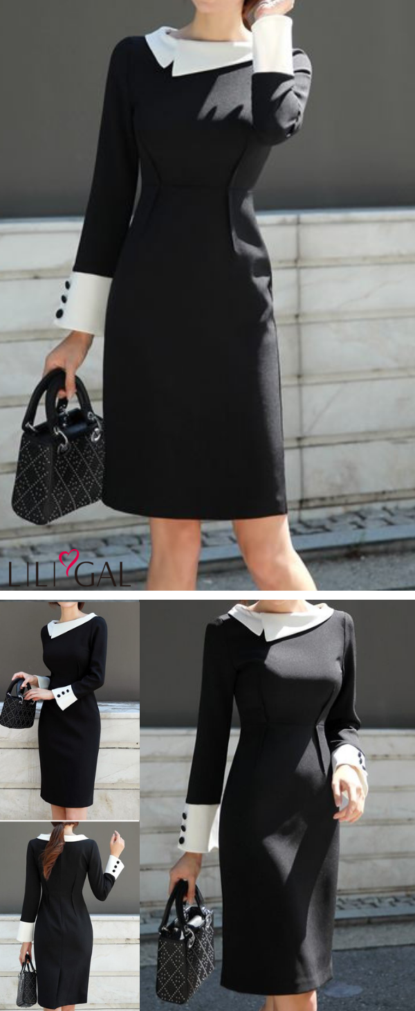 Black button detail long sleeve sheath dress in fashion