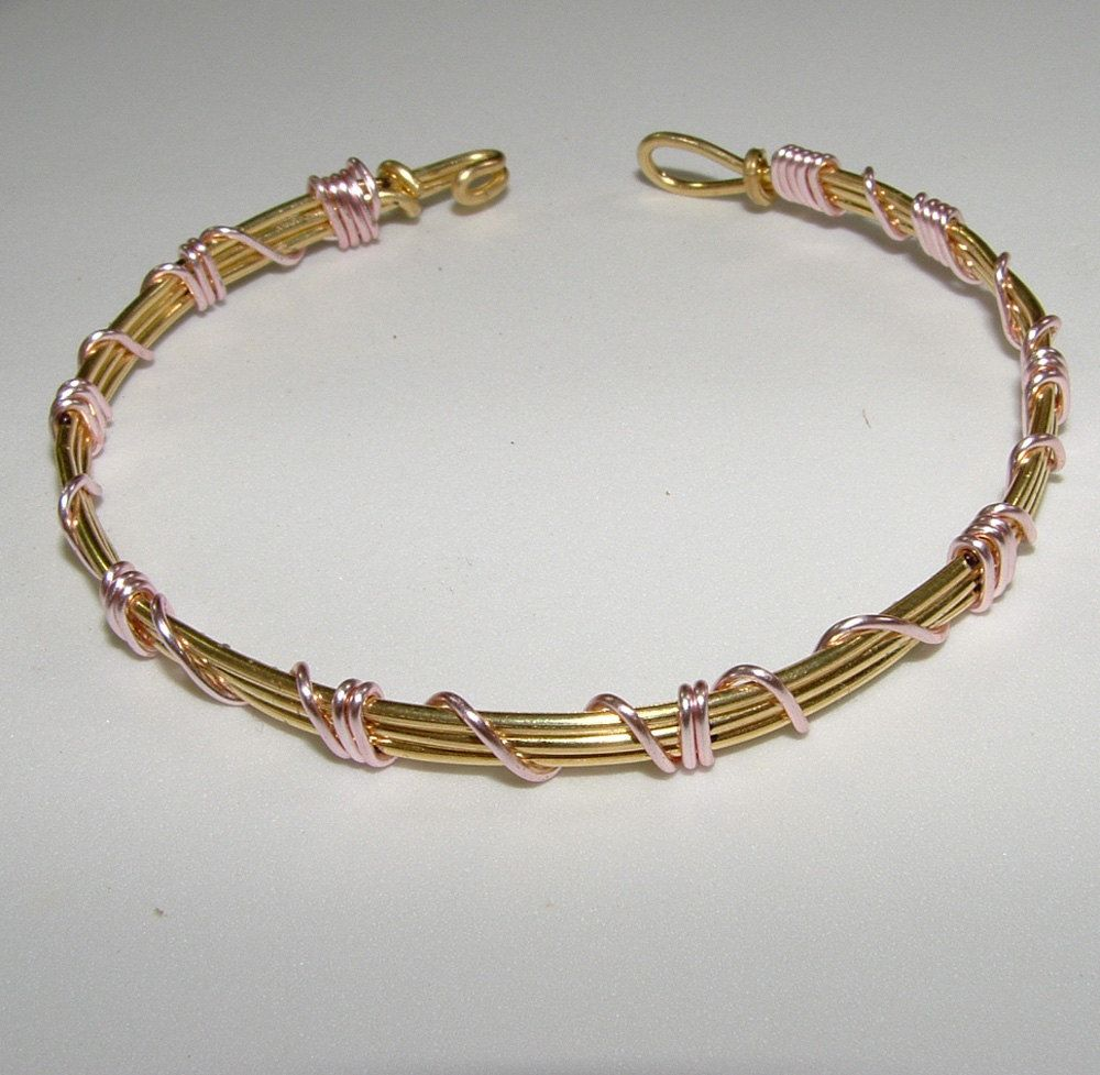 Handmade Gold Wire Wrapped with Pink Wire Bracelet | Gold wire, Wire ...