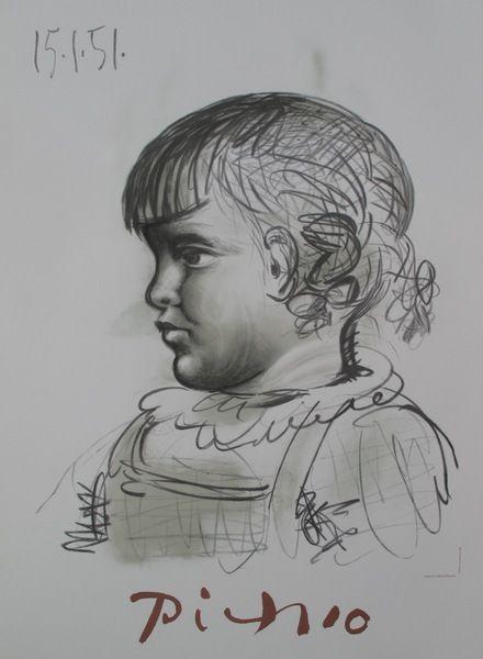 Marina Picasso PORTRAIT D'ENFANT Limited Ed. Lithograph