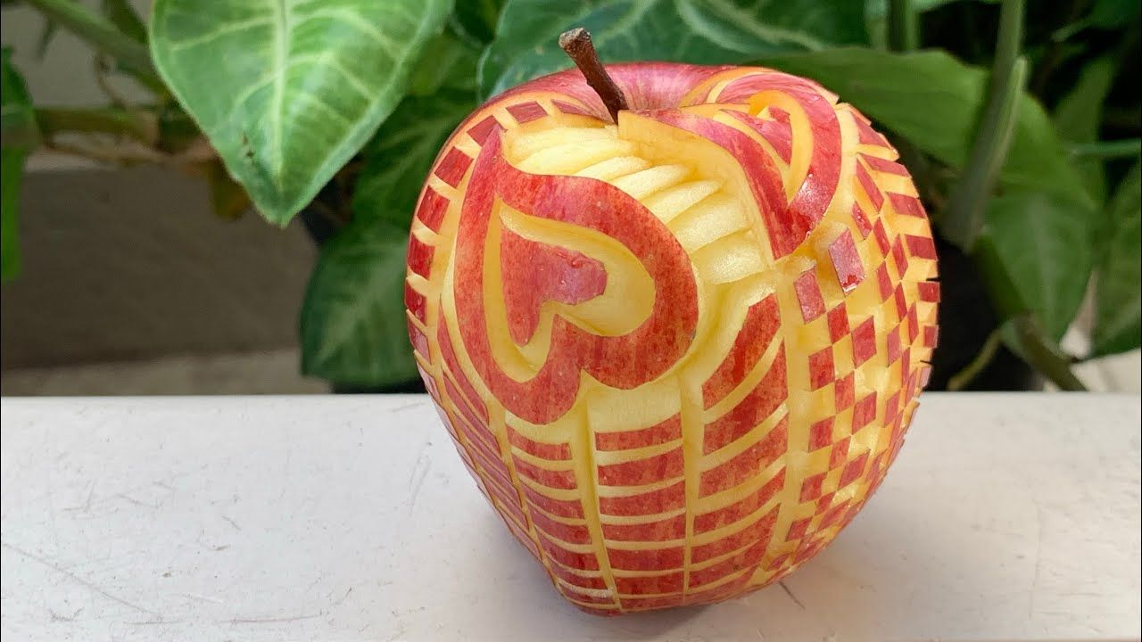 Easy Apple fruit carving design decoration for beginner Ep ...