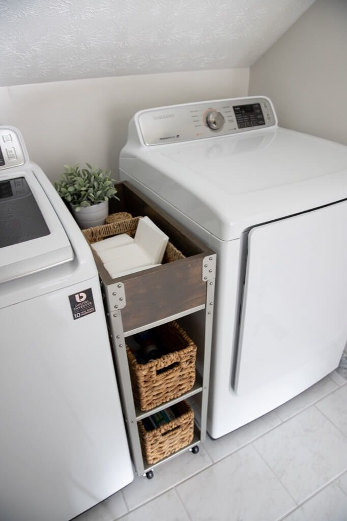 Skinny Rolling Storage Cart To Fit Between Washer Dryer