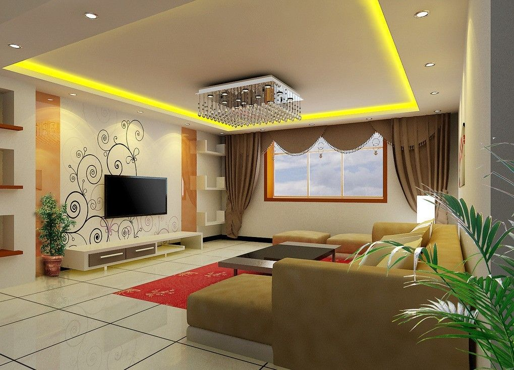 Living room tv wall wallpaper and curtain design for Front room interior design