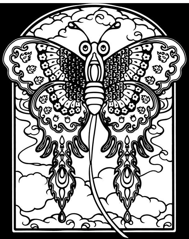 page chinese kites stained glass coloring book by dover publishing - Coloring Book Publishers