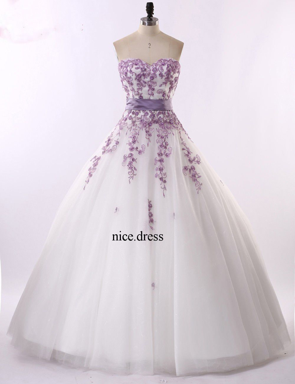 Hs prom dress bridal ball gown purple appliques wedding dress