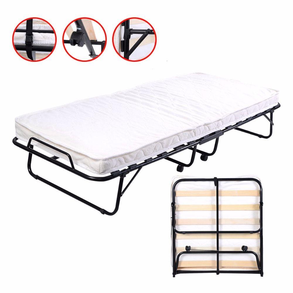 folding bed foam mattress twin roll away guest portable sleeper pull rh pinterest co uk