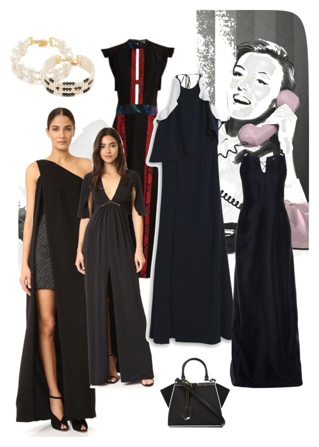 """Elegant black!"" by lalu-papa on Polyvore featuring Monique Lhuillier, Burberry, Halston Heritage, Jonathan Simkhai, Fendi and Venessa Arizaga"
