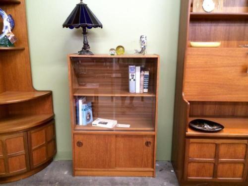danish modern teak bookcase dealer sliding glass doors storage below compact elegant