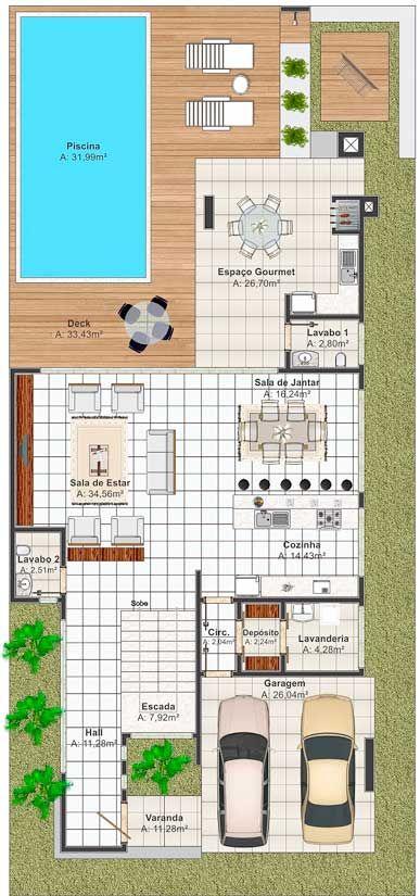 Moderno Y Cómodo Plano De Casa Grande
