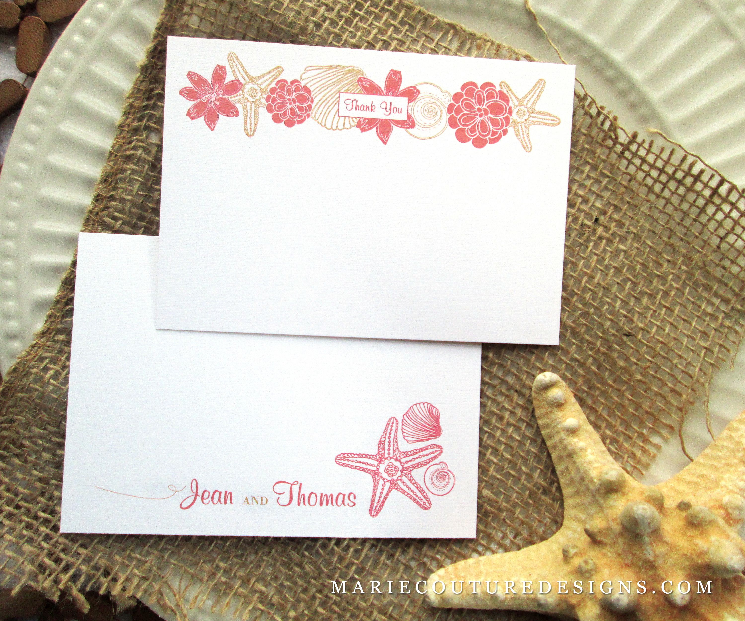wedding custom thank you cards%0A Beach Wedding Thank You  Coral Pink Gold Starfish Seashells  Custom  by  MarieCoutureDesigns