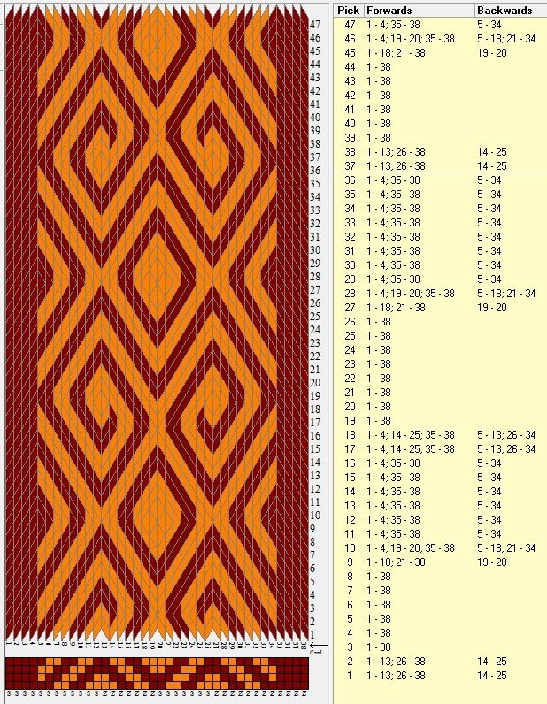 38 tarjetas, 2 colores, repite cada 36 movimientos // sed_389 diseñado en GTT༺❁